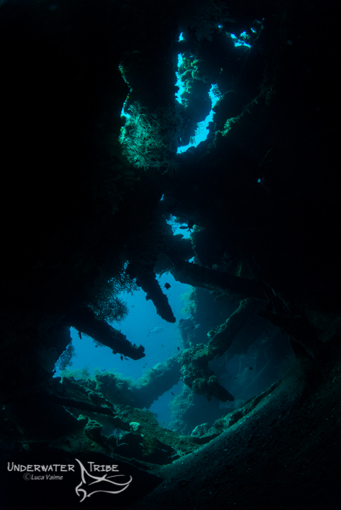 showing inside the tulamben shipwreck, natural light photo